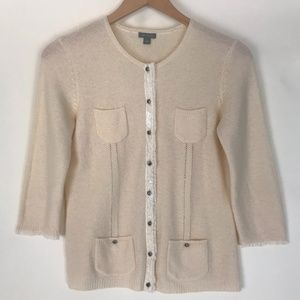 Ann Taylor cream wool cardigan with jewel buttons